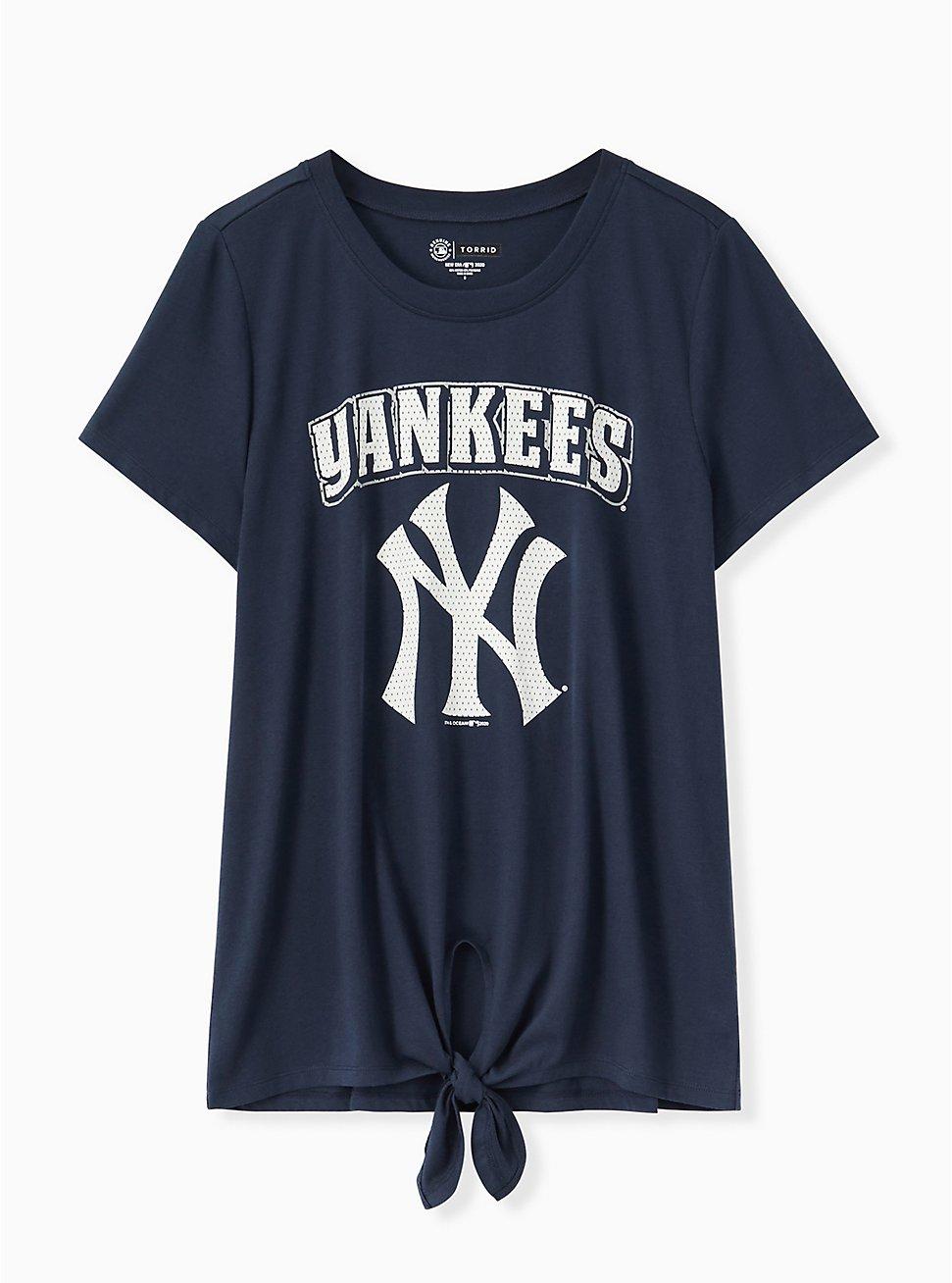 MLB New York Yankees Tie Front Tee - Navy, PEACOAT, hi-res