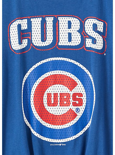 MLB Chicago Cubs Tie Front Tee - Blue, , alternate