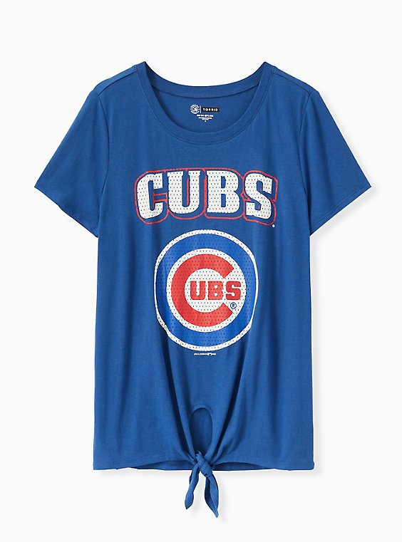 MLB Chicago Cubs Tie Front Tee - Blue, , hi-res