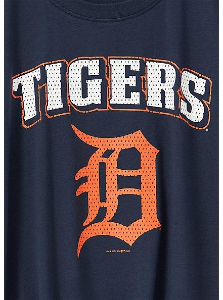 MLB Detroit Tigers Navy Tie Front Tee, PEACOAT, alternate