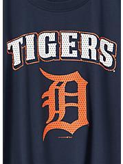 Plus Size MLB Detroit Tigers Navy Tie Front Tee, PEACOAT, alternate