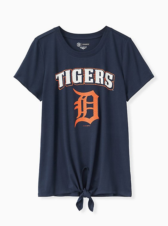 Plus Size MLB Detroit Tigers Navy Tie Front Tee, , hi-res