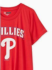 MLB Philadelphia Phillies Tie Front Tee - Red, JESTER RED, alternate