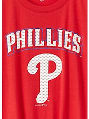 MLB Philadelphia Phillies Tie Front Tee - Red, JESTER RED, alternate