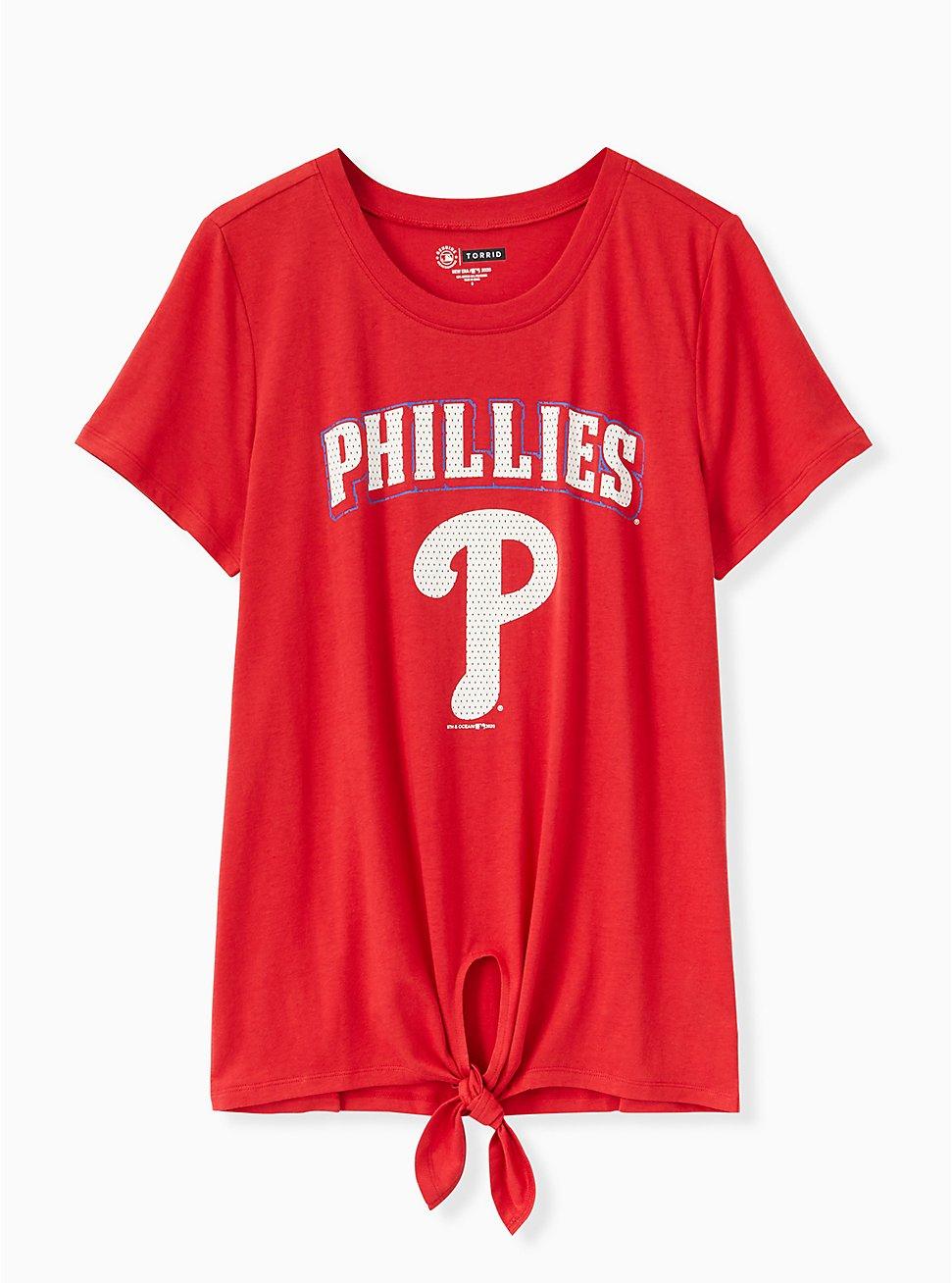 MLB Philadelphia Phillies Tie Front Tee - Red, JESTER RED, hi-res