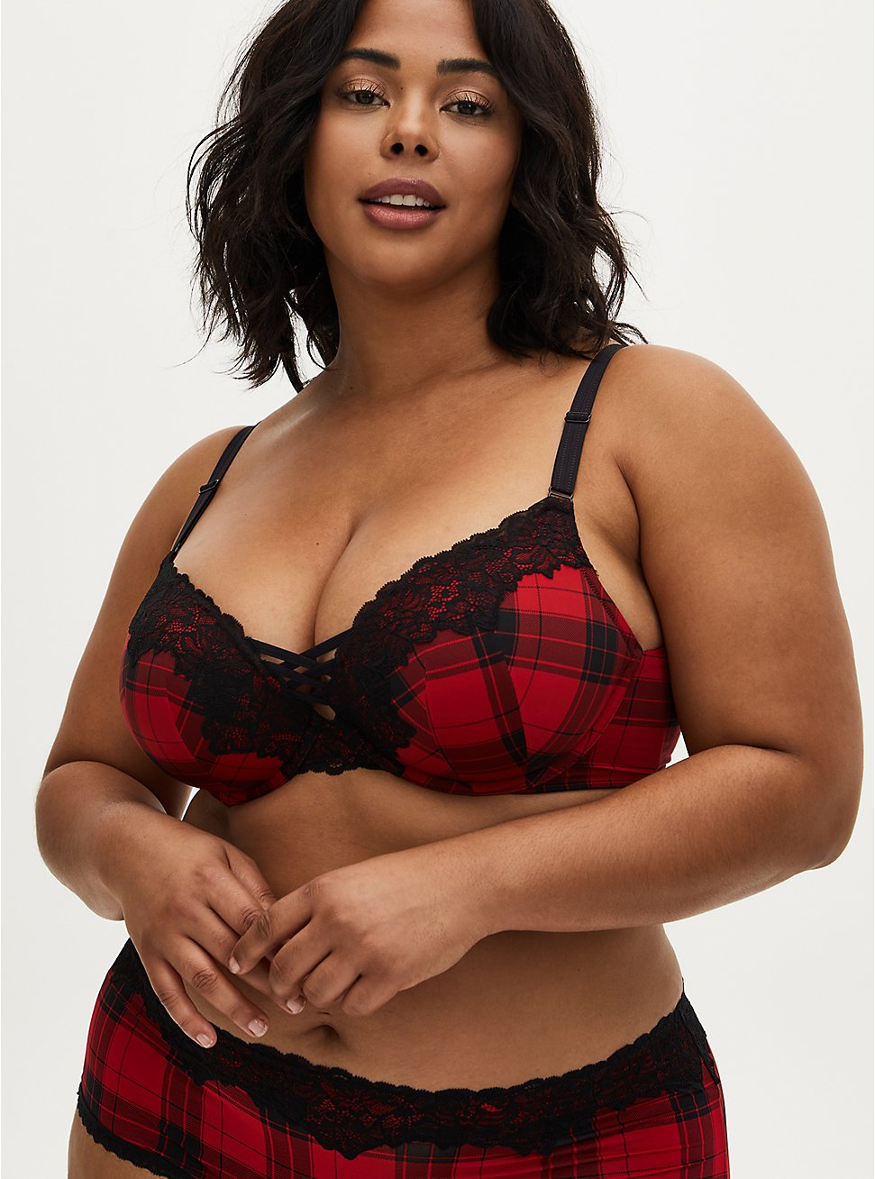 Red Plaid 360° Back Smoothing™ XO Push-Up Plunge Bra, , fitModel1-hires
