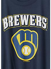 MLB Milwaukee Brewers Tie Front Tee - Navy, PEACOAT, alternate