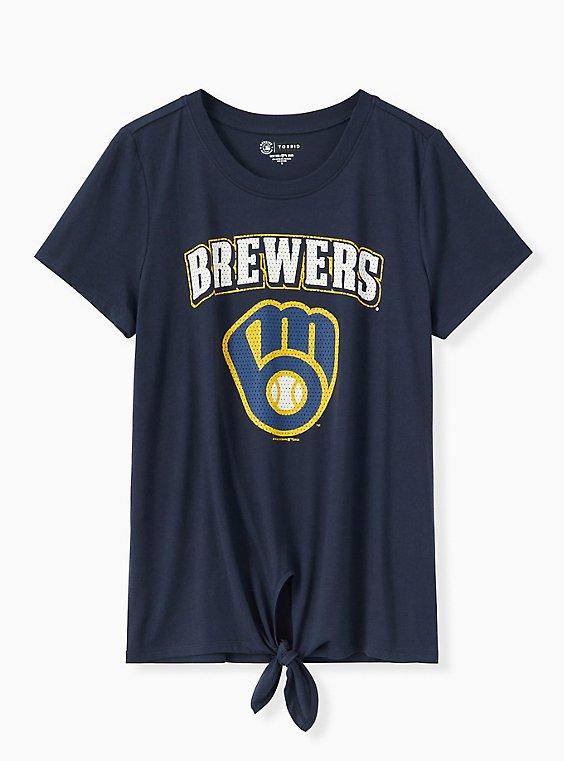 MLB Milwaukee Brewers Tie Front Tee - Navy, PEACOAT, hi-res