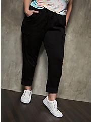 Black Challis Crop Cargo Jogger, DEEP BLACK, hi-res