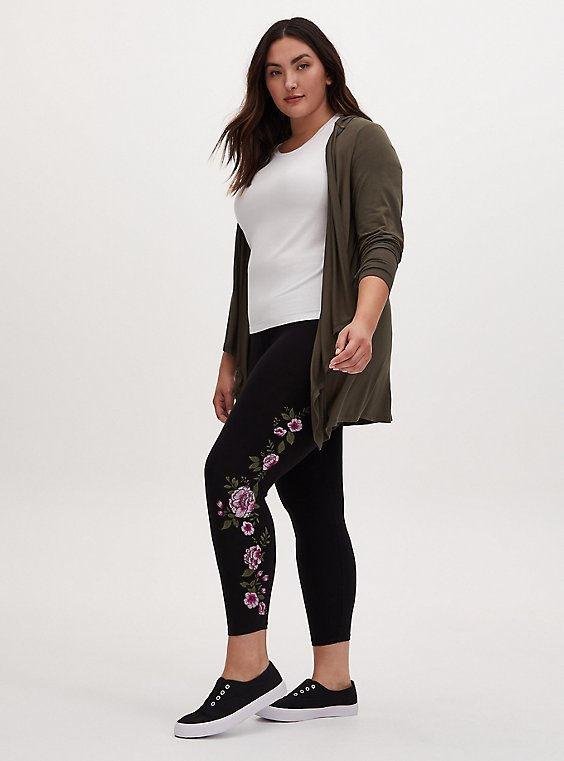 Crop Premium Legging - Embroidered Floral Black , BLACK, hi-res