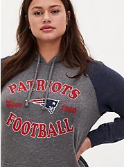 NFL New England Patriots Football Grey & Navy Terry Raglan Hoodie, MEDIUM HEATHER GREY, alternate