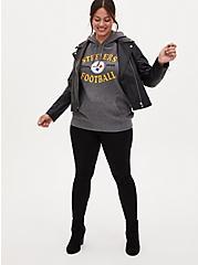 NFL Pittsburgh Steelers Football Grey & Black Terry Raglan Hoodie, MEDIUM HEATHER GREY, alternate