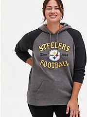 NFL Pittsburgh Steelers Football Grey & Black Terry Raglan Hoodie, MEDIUM HEATHER GREY, hi-res