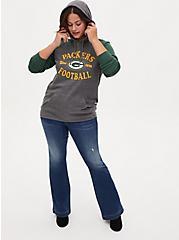 NFL Green Bay Packers Football Grey & Green Terry Raglan Hoodie, MEDIUM HEATHER GREY, alternate