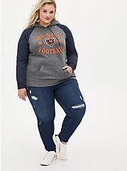Plus Size NFL Chicago Bears Football Grey & Navy Terry Raglan Hoodie, MEDIUM HEATHER GREY, alternate