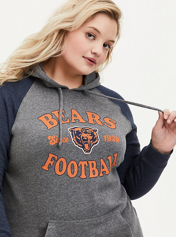 Plus Size NFL Chicago Bears Football Grey & Navy Terry Raglan Hoodie, , hi-res