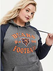 Plus Size NFL Chicago Bears Football Grey & Navy Terry Raglan Hoodie, MEDIUM HEATHER GREY, hi-res