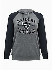 NFL Las Vegas Raiders Football Grey & Black Terry Raglan Hoodie, MEDIUM HEATHER GREY, hi-res