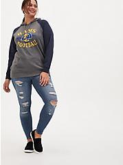 NFL Los Angeles Rams Football Grey & Navy Terry Raglan Hoodie, MEDIUM HEATHER GREY, alternate
