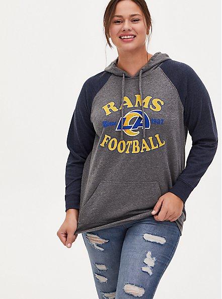 NFL Los Angeles Rams Football Grey & Navy Terry Raglan Hoodie, MEDIUM HEATHER GREY, hi-res