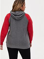 Plus Size NFL San Francisco 49ers Football Grey & Red Terry Raglan Hoodie, MEDIUM HEATHER GREY, alternate