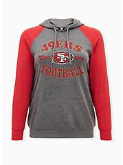 Plus Size NFL San Francisco 49ers Football Grey & Red Terry Raglan Hoodie, MEDIUM HEATHER GREY, hi-res