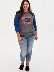 NFL New York Giants Football Grey & Blue Terry Raglan Hoodie, MEDIUM HEATHER GREY, alternate