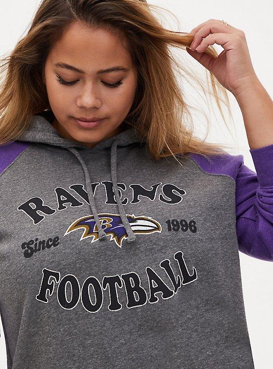 NFL Baltimore Ravens Football Grey & Purple Terry Raglan Hoodie, MEDIUM HEATHER GREY, hi-res