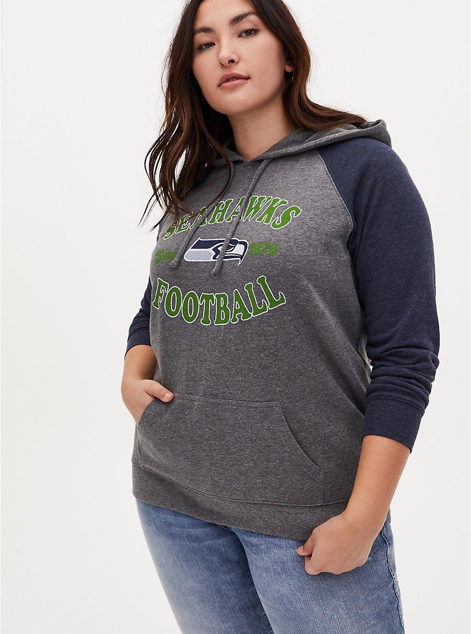 NFL Seattle Seahawks Football Grey & Navy Terry Raglan Hoodie, MEDIUM HEATHER GREY, hi-res
