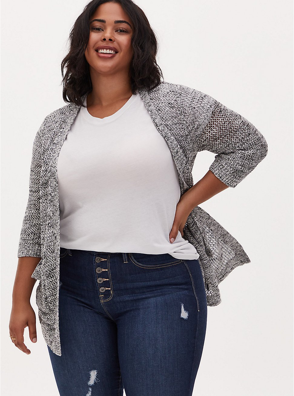 Black & White Marled Pointelle Open Front Cardigan , GREY, hi-res