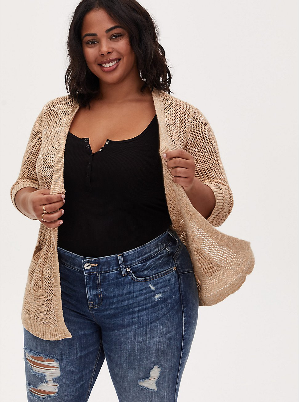 Beige Pointelle Open Front Cardigan , WARM SAND, hi-res