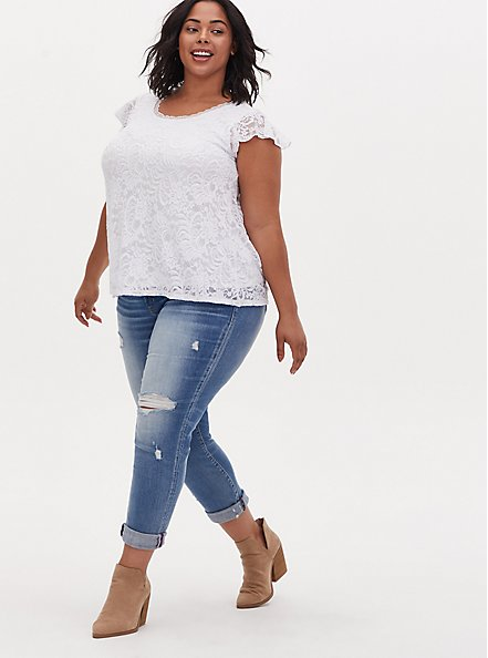 Plus Size White Lace Cap Sleeve Top, BRIGHT WHITE, alternate