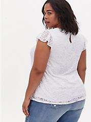 White Lace Cap Sleeve Top, BRIGHT WHITE, alternate