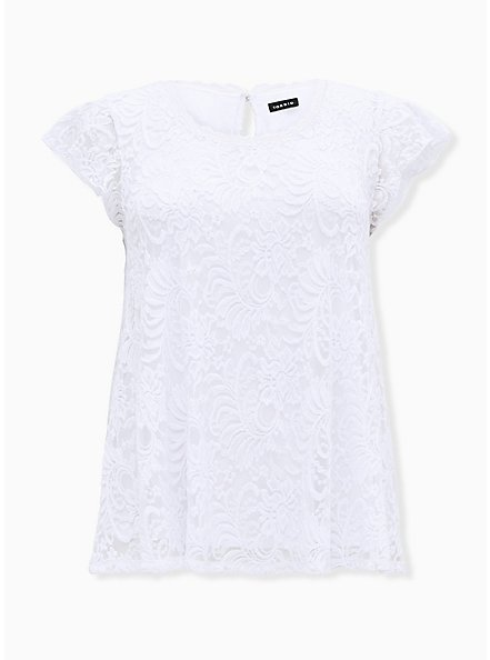 Plus Size White Lace Cap Sleeve Top, BRIGHT WHITE, hi-res