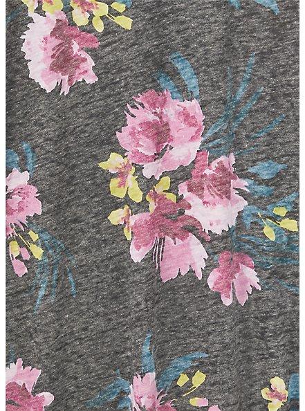 Classic Fit V-Neck Tee - Vintage Burnout Black Floral, FALLING FEATHERS, alternate