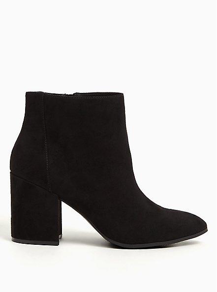 Black Faux Suede Pointed Toe Block Heel Bootie (WW), BLACK, alternate