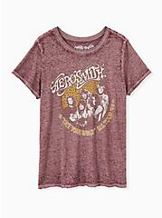 Aerosmith Burgundy Purple Burnout Crew Tee, WINETASTING, hi-res