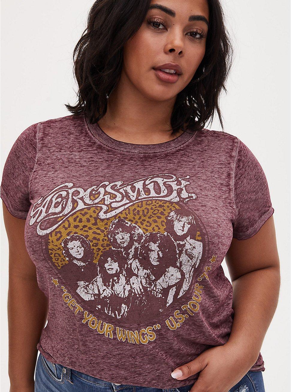 Aerosmith Burgundy Purple Burnout Crew Tee, WINETASTING, hi-res
