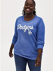 MLB Los Angeles Dodgers Blue Burnout Sweatshirt , , hi-res