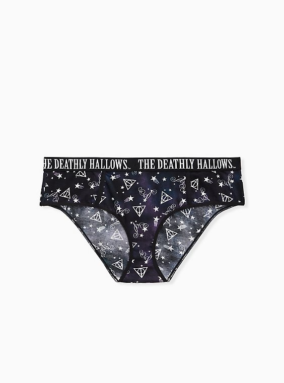 Harry Potter Deathly Hallows Black Cotton Hipster Panty, , hi-res