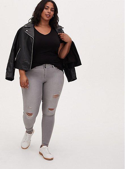 Plus Size Slim Fit V-Neck Tee - Super Soft Black , DEEP BLACK, alternate