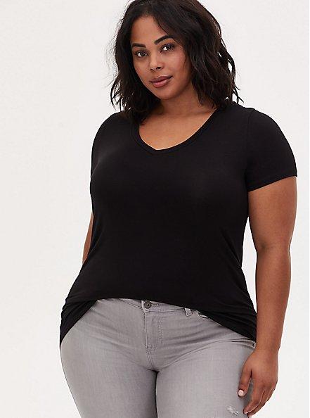 Plus Size Slim Fit V-Neck Tee - Super Soft Black , DEEP BLACK, hi-res