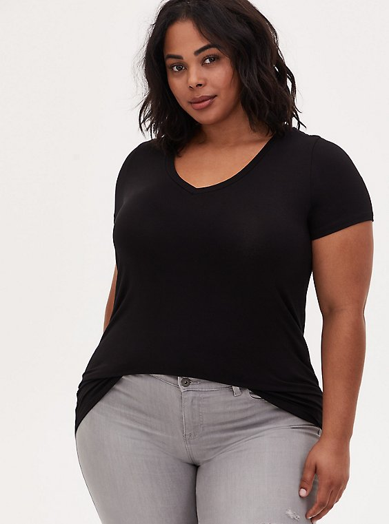Slim Fit V-Neck Tee - Super Soft Black , , hi-res
