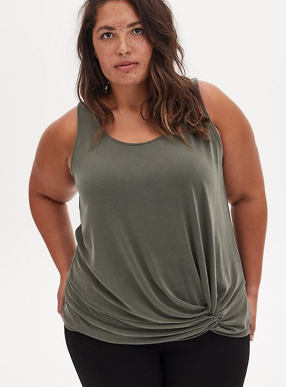 Olive Green Cupro Knot Front Tank, DEEP DEPTHS, hi-res