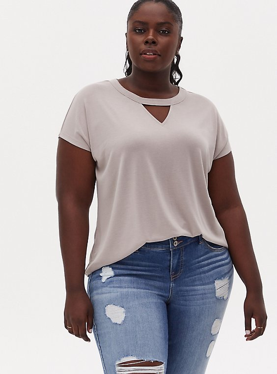 Taupe Cupro Keyhole Dolman Tee, ATMOSPHERE, hi-res
