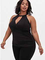 Black Studio Knit Ruched Keyhole Tank , DEEP BLACK, hi-res