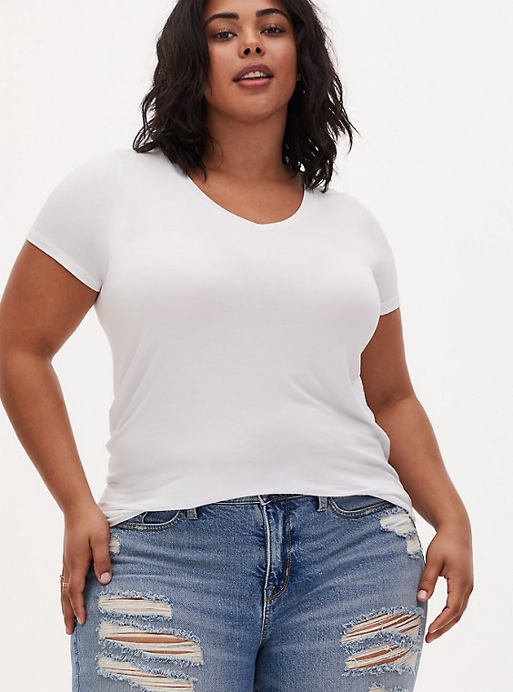 Slim Fit V-Neck Tee - Super Soft White, , hi-res
