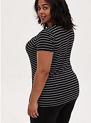 Slim Fit V-Neck Tee - Super Soft Stripe Black & White , BRIGHT WHITE AND DEEP BLACK STRIPE, alternate