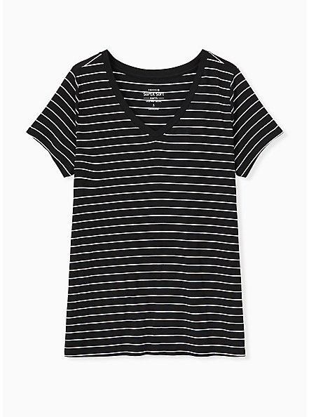 Plus Size Slim Fit V-Neck Tee - Super Soft Stripe Black & White , BRIGHT WHITE AND DEEP BLACK STRIPE, hi-res