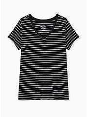 Slim Fit V-Neck Tee - Super Soft Stripe Black & White , BRIGHT WHITE AND DEEP BLACK STRIPE, hi-res